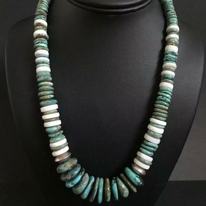Jewelry - Sterling Silver Turquoise Bead Necklace. 20 inch